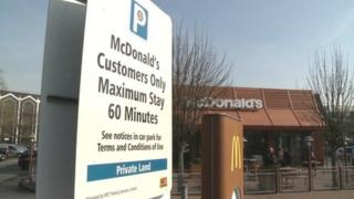 parking notice at McDonald's