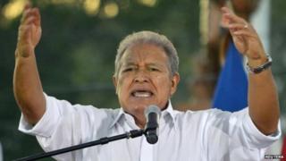 Salvador Sanchez Ceren speaks to supporters. Photo: 15 March 2014
