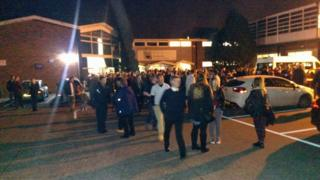 Evacuated pupils at Orwell High School