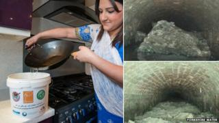 Woman pouring oil into tub and CCTV images of blocked sewers