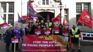 Youth services protest