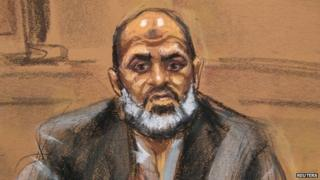Osama bin Laden's son-in-law Suleiman Abu Ghaith is seen in a courtroom drawing as he takes the stand in his own defence against terrorism charges in New York 19 March 2014