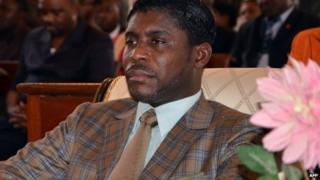 Teodorin Nguema Obiang Mangue pictured at a mass to mark his birthday on 25 June 2013 in Malabo, Equatorial Guinea