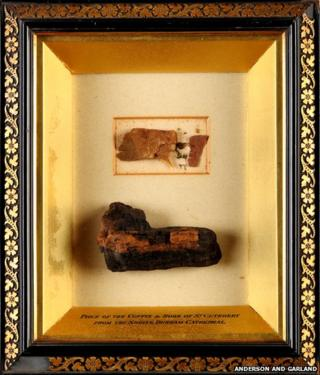 Fragments of St Cuthbert's coffin and robes