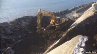 Cambrian Coast line being repaired after 2014 winter storm