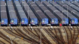 Overview of train carriages stopped in a parking place in Sao Paulo, on 18 June, 2003.