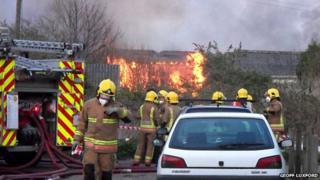 Fire at old mushroom farm at Martham