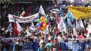 Protest in Santiago, Chile