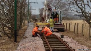 Tram line repairs. Pic: Seaton Tramway
