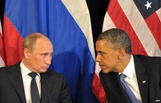 US President Barack Obama (R) meets his Russian counterpart Vladimir Putin (L) in Los Cabos, Mexico, on June 18, 2012
