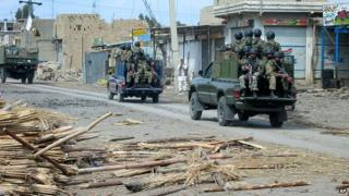 Troops of Pakistan army patrol in troubled area after a fierce fight between Pakistani forces and militants in Miran Shah in Pakistan's tribal area of North Waziristan