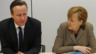 UK PM David Cameron and German Chancellor Angela Merkel, 21 Mar 14