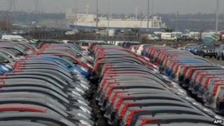 Nissan vehicles for export waiting at Tyne docks in South Shields
