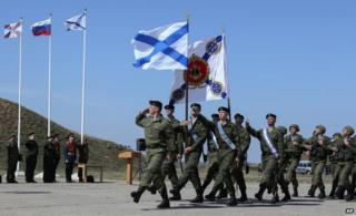Russian marines marching at their base in Sevastopol in Crimea (24 March)