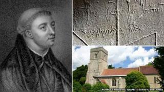 John Lydgate and graffiti in Lidgate church, Suffolk
