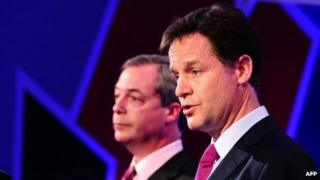 Nigel Farage and Nick Clegg during the first of two EU debates