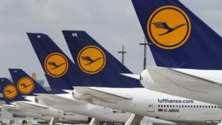 Lufthansa aircraft on the tarmac at Frankfurt airport (July 2013)