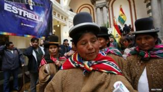 Indigenous leader Felipa Huanca attends a ceremony commemorating the takeover of the TKSAT-1 (Tupac Katari Satellite) at the presidential palace in La Paz on 1 April, 2014
