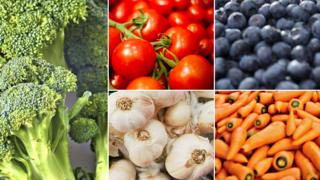 Various images of broccoli, tomatoes, blueberries, carrots and garlic