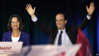 Francois Hollande and Segolene Royal on the presidential campaign trail together in Rennes, western France, 4 April 2012