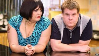 Gwen Jones and James Corden in Gavin and Stacey