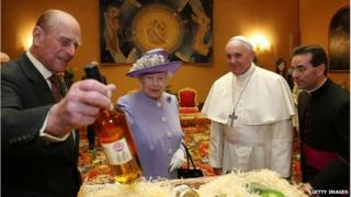 """Prince Philip, the Queen and the Pope in a room known as the """"Pope's study"""""""