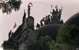 File picture of the demolition of the mosque in Ayodhya, 1992