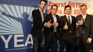 The heads of right-wing populist party youth leagues (L-R): Udo Landbauer of Austria's Freedom Party, Tom Van Grieken from Belgium's Vlaams Belang, Julien Rochedy from France's National Front and Gustav Kasselstrand of the Sweden Democrats (SDU)