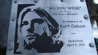 Kurt Cobain plaque at the Cobain Landing in Aberdeen, Washington