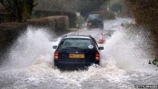 Flooded road in Hildenborough
