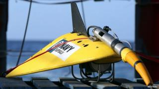 The towed pinger locator sits on the deck of ADV Ocean Shield during the search for the flight data recorder and cockpit voice recorder of the missing Malaysian Airlines flight MH370 in this picture released by the Australian Defence Force on 5 April 2014.