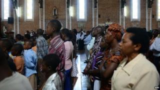 Mass at Sainte-Famille Catholic church in Kigali