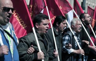 Demonstrators in Athens (27 March 2014)