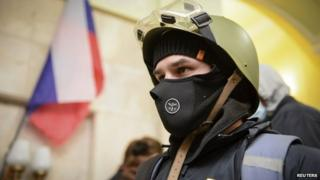 Pro-Moscow demonstrator inside a government building in Kharkiv (6 April 2014)