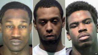 These undated photos provided by the Detroit Police Department shows, from left, Wonzey Saffold, 30; James Davis, 24, and Bruce Wimbush Jr, 17 8 April 2014