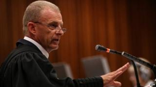 State prosecutor Gerrie Nel cross-examining Oscar Pistorius during his trial at the North Gauteng High Court in Pretoria on April 9, 2014