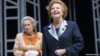 Marion Bailey (left) as Q - the older Queen - and Stella Gonet as T - the older Mrs Thatcher
