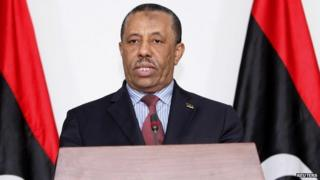 Libyan interim prime minister Abdullah al-Thinni at a press conference in Tripoli - 12 March 2014