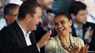 Eduardo Campos and Marina Silva during their candidacy pre-launch ceremony on April 14, 2014.