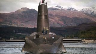 Trident-armed HMS Vanguard nuclear submarine on the River Clyde