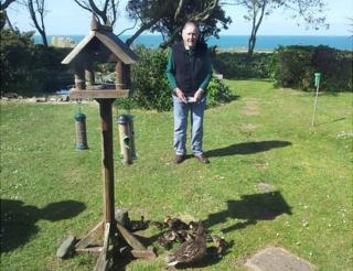Brian Bonnard in his Alderney garden