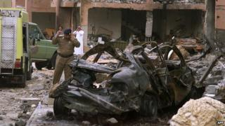 Aftermath of the bombing of the al-Hamra residential compound in Riyadh on 12 May 2003