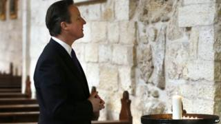 David Cameron visits the Church of the Nativity in the West Bank town of Bethlehem on 13 March 2014