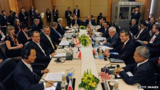 Trade ministers and representatives at the Trans-Pacific Partnership (TPP) ministerial meeting in Singapore