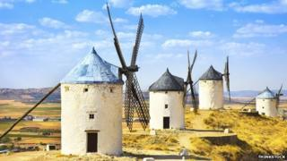 Old-style windmills in La Mancha, Spain