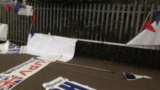 One of the banners that was destroyed at the protest camp in Twaddell Avenue