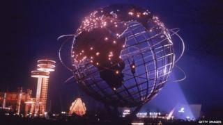Hemisphere with fountain and lights at NY World's Fair