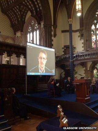 Edward Snowden appeared via video link