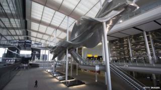"Richard Wilson's new artwork ""Slipstream"" in Terminal 2 of Heathrow airport"