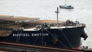 The Baosteel Emotion, a 226,434 deadweight-tonne ore carrier owned by Mitsui O.S.K. Lines, is docked at the port of Maji Island, south of Shanghai on 22 April, 2014